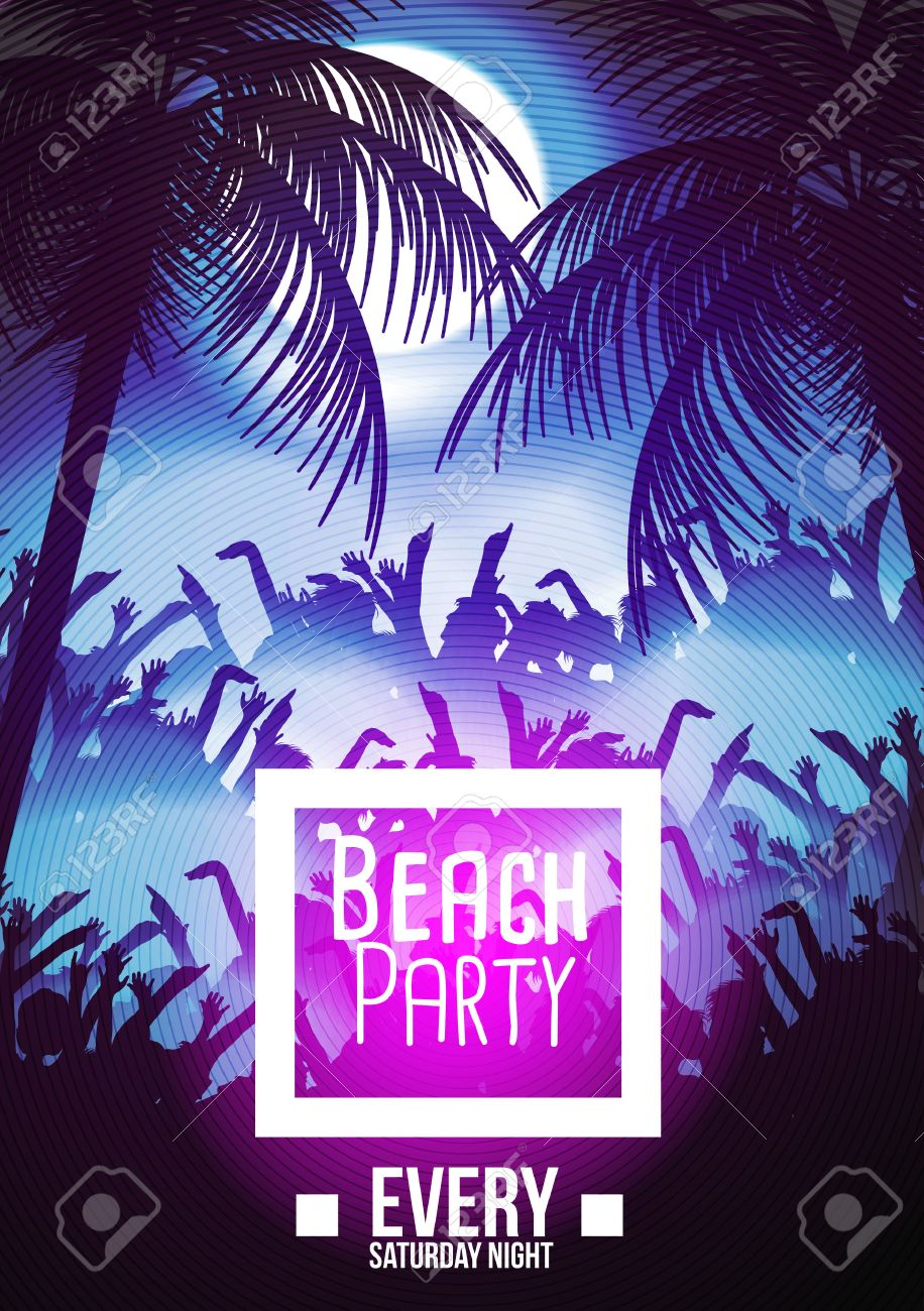 Summer Beach Night Party Flyer Template - Vector Illustration ...