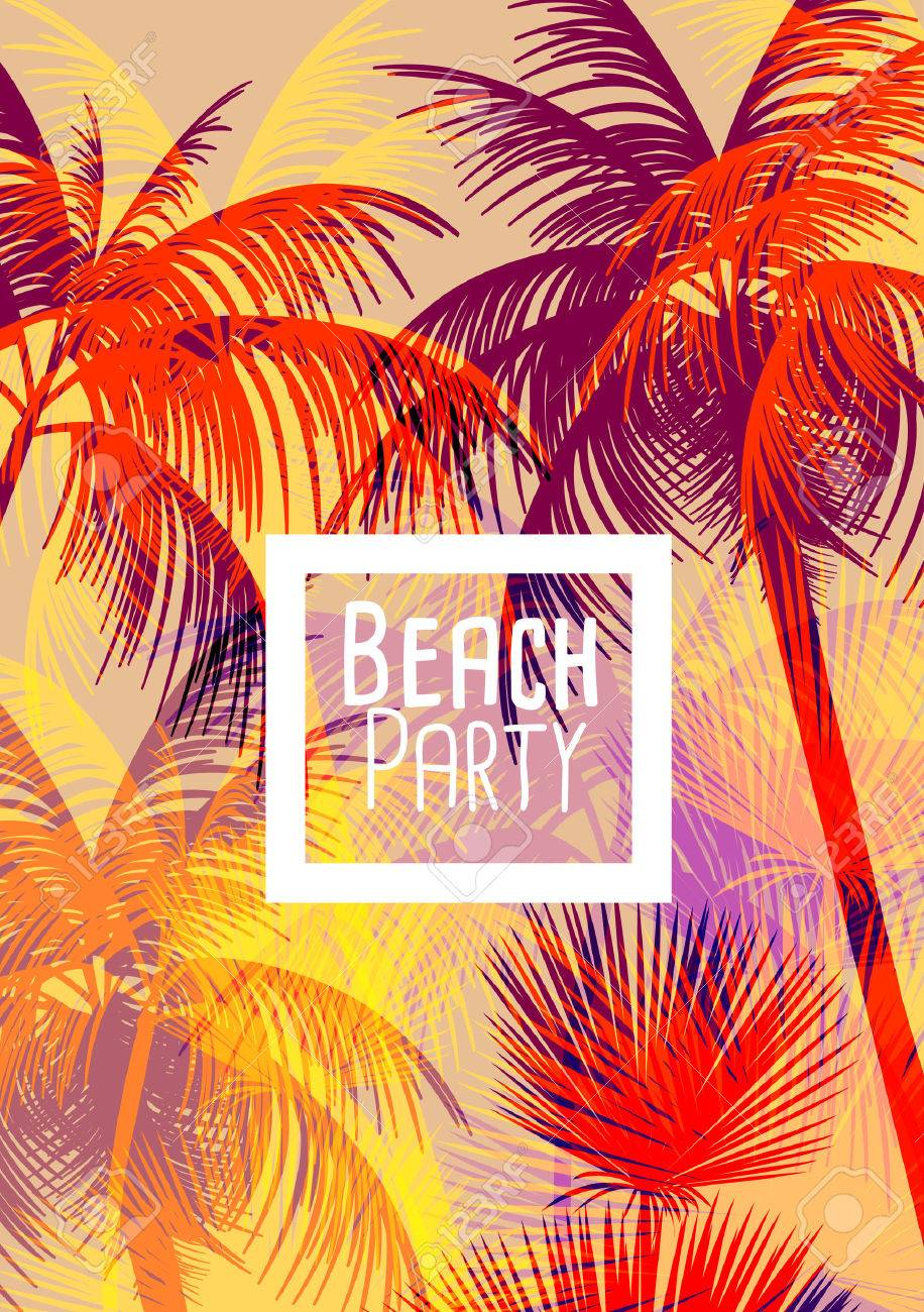 Tropical Background with Palm Tree - Vector Illustration - 45094333
