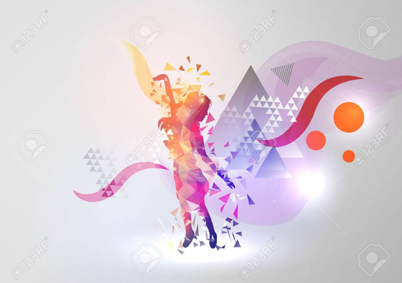 e009b4802 Dance Girl On Modern Abstract Background Royalty Free Cliparts ...