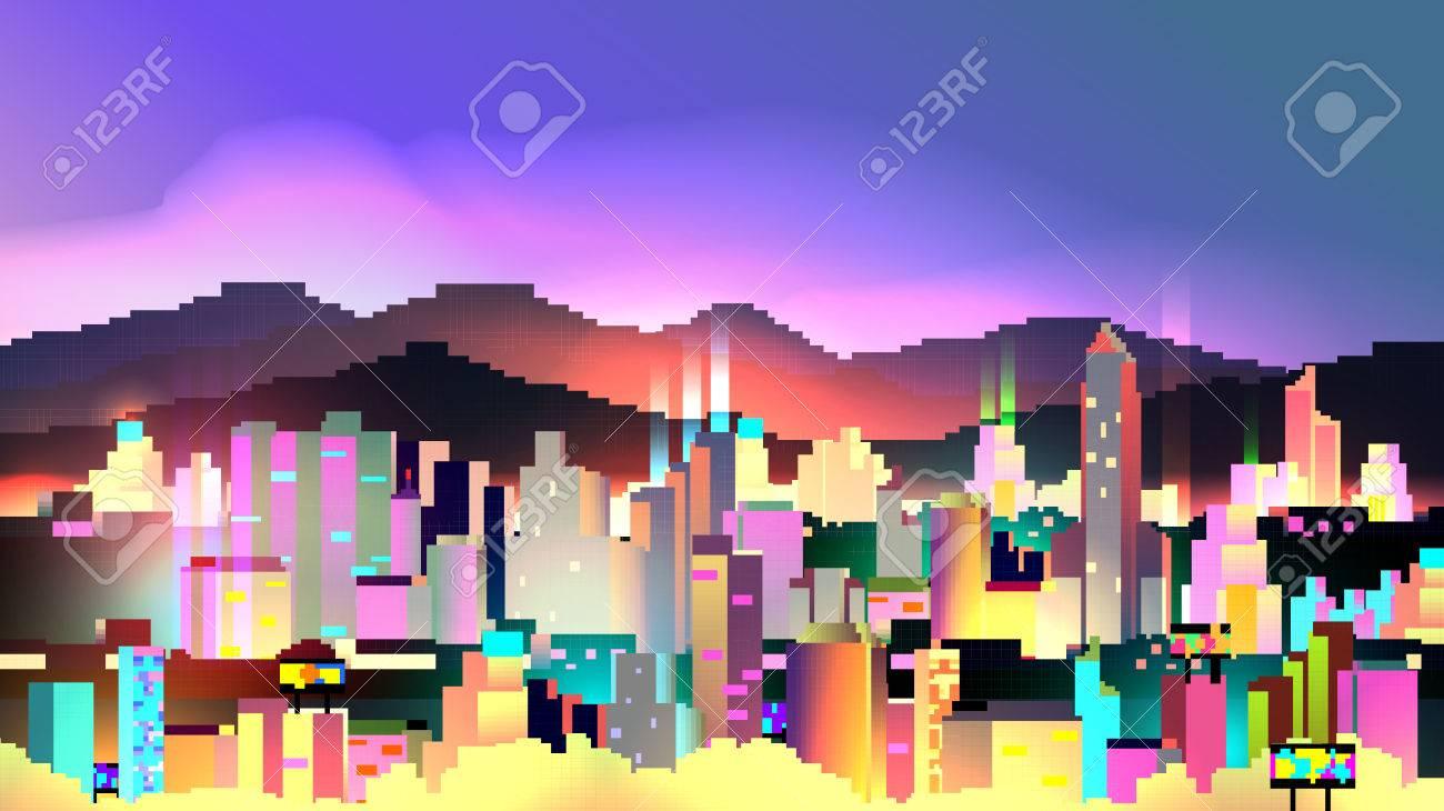 レトロな 8 ビット ネオン街スカイライン背景 ベクトル図のイラスト