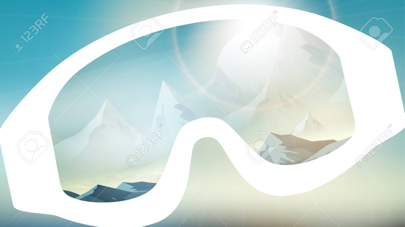 4c0c5fcb962 Ski Goggles Reflecting the Winter Mountains on Blurred Background - Vector  Illustration Stock Vector - 73722908