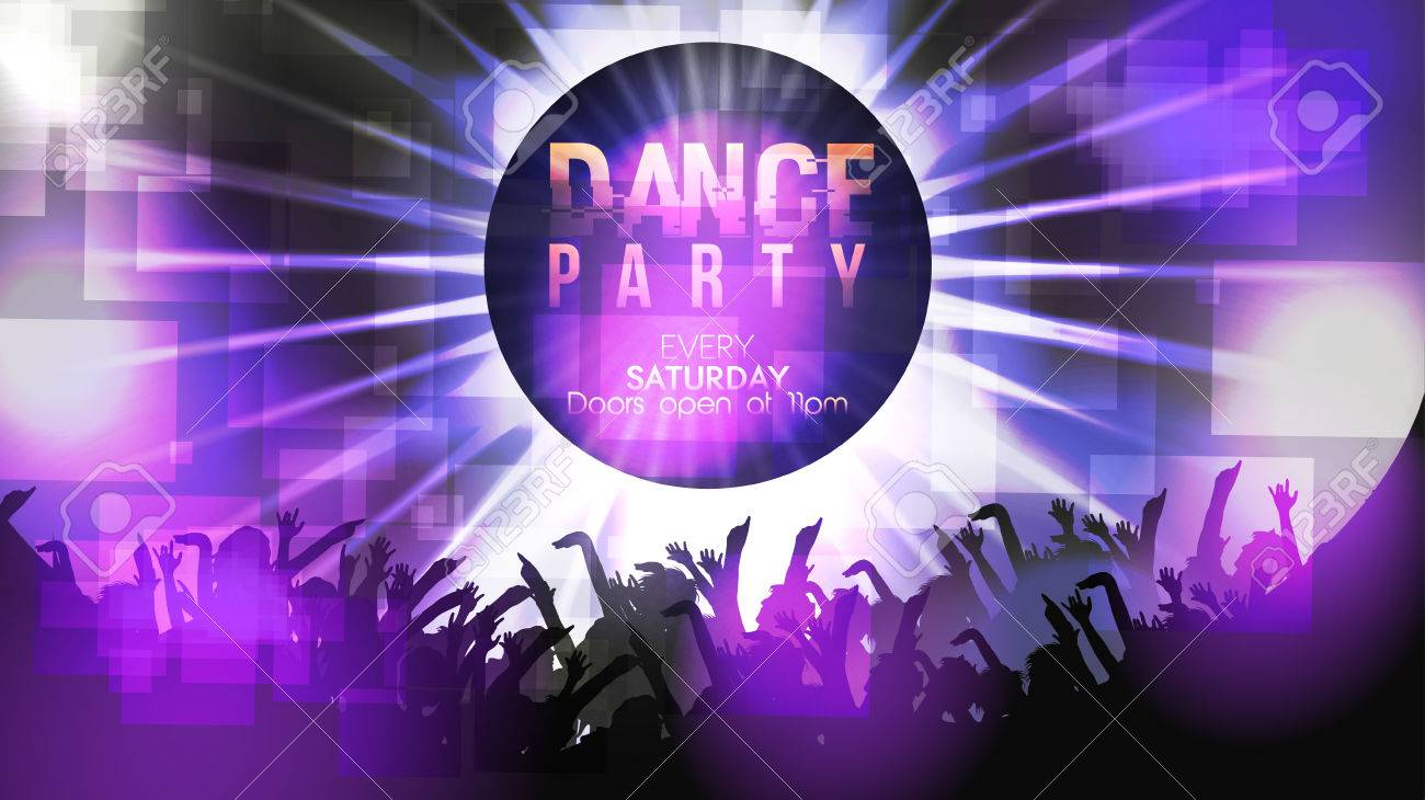dance party poster background template vector illustration royalty