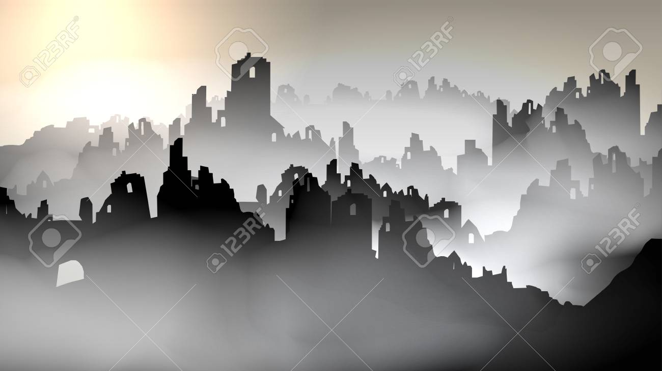 Silhouette of destroyed buildings- Vector Illustration - 90303998