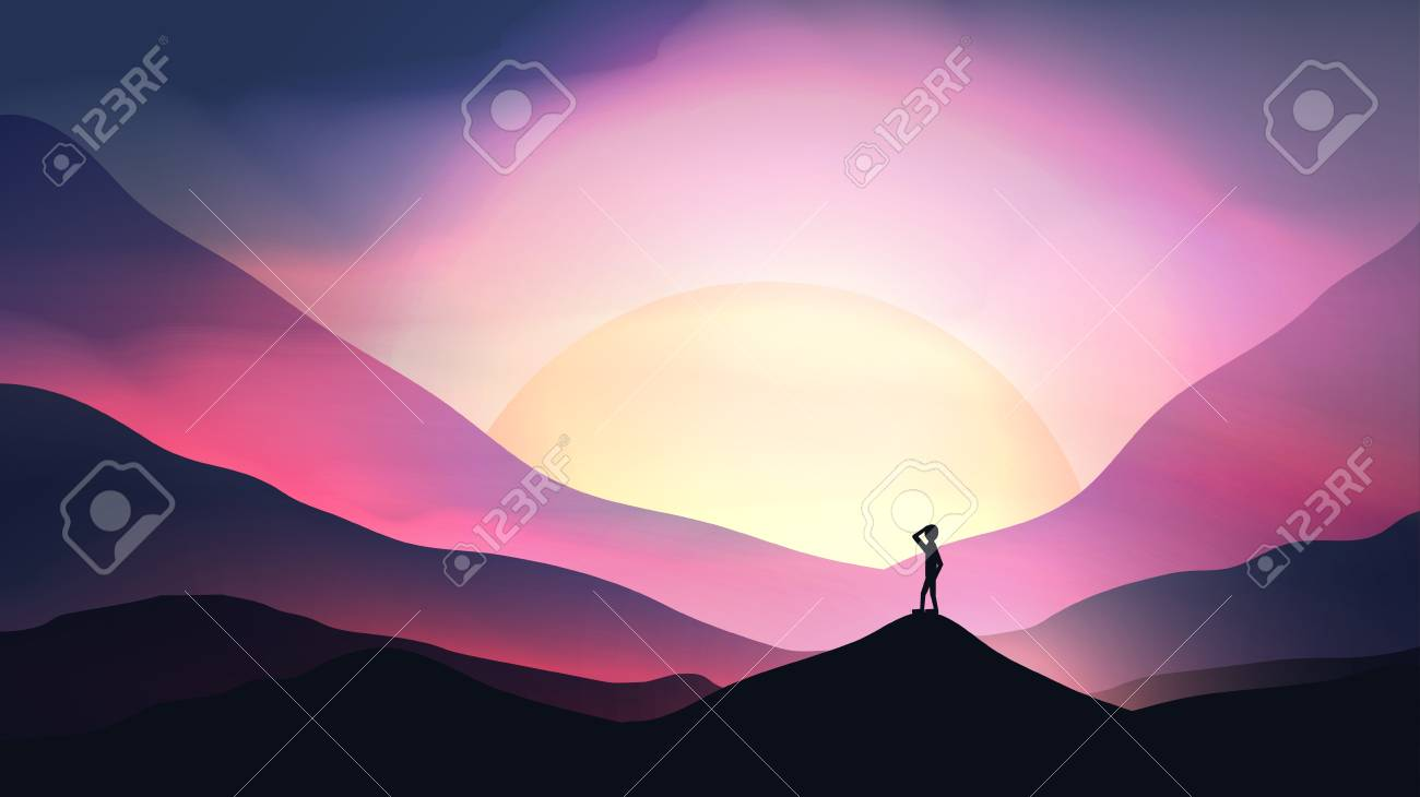 Sunset or Dawn Over Mountains with Man Staring into the Distance Landscape - Vector Illustration - 92411159