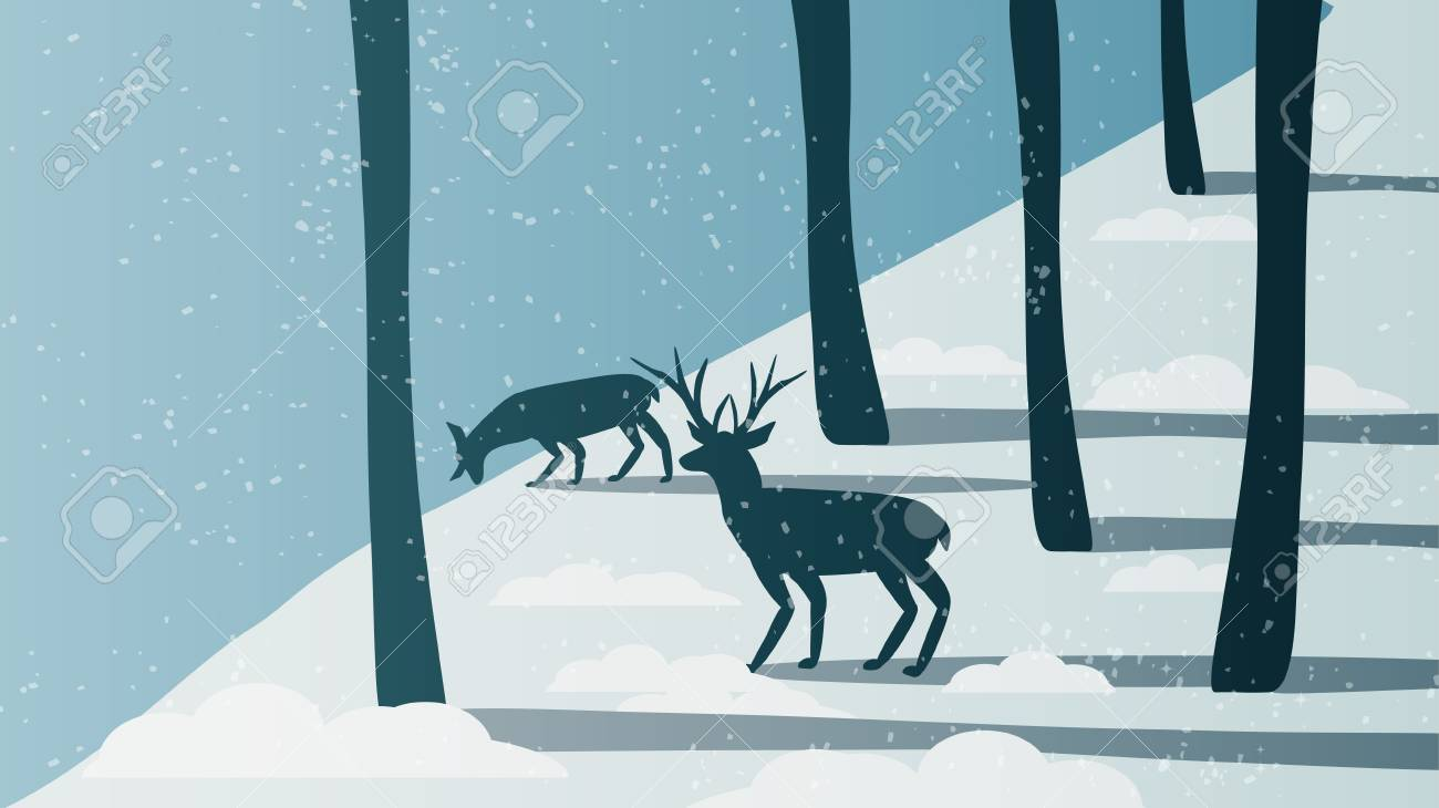 Minimal Winter Forest Scene with Stag Near a River - Vector Illustration - 92400951