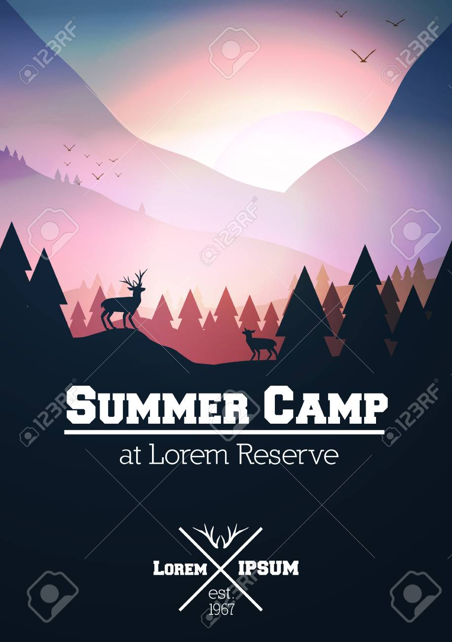 Summer Camp Poster with Mountains, Stag on Hill Top Pine Forest Landscape Illustration. - 91754065