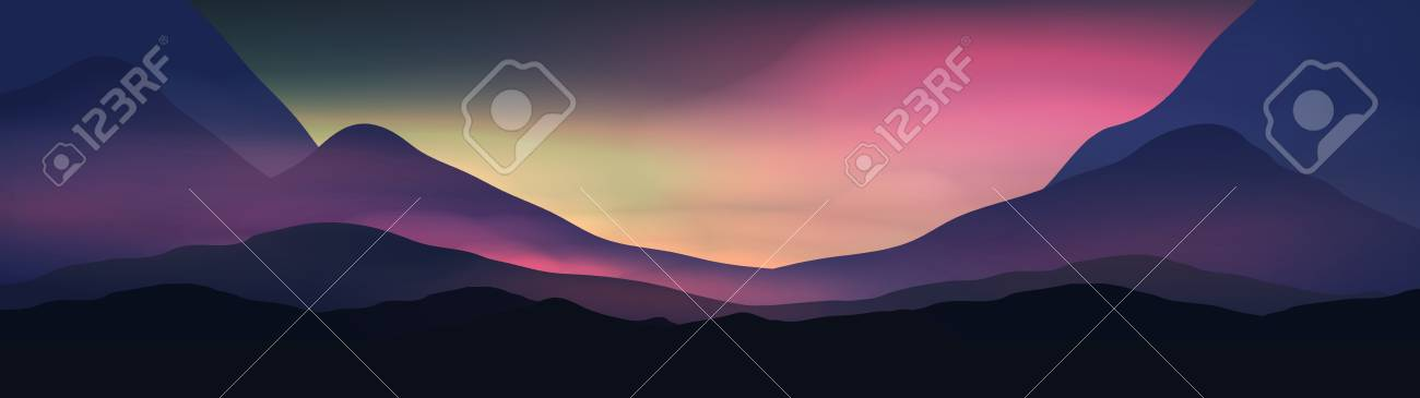 Sunset or Dawn Over Silk Mountains Landscape Panorama - Vector Illustration - 92346734