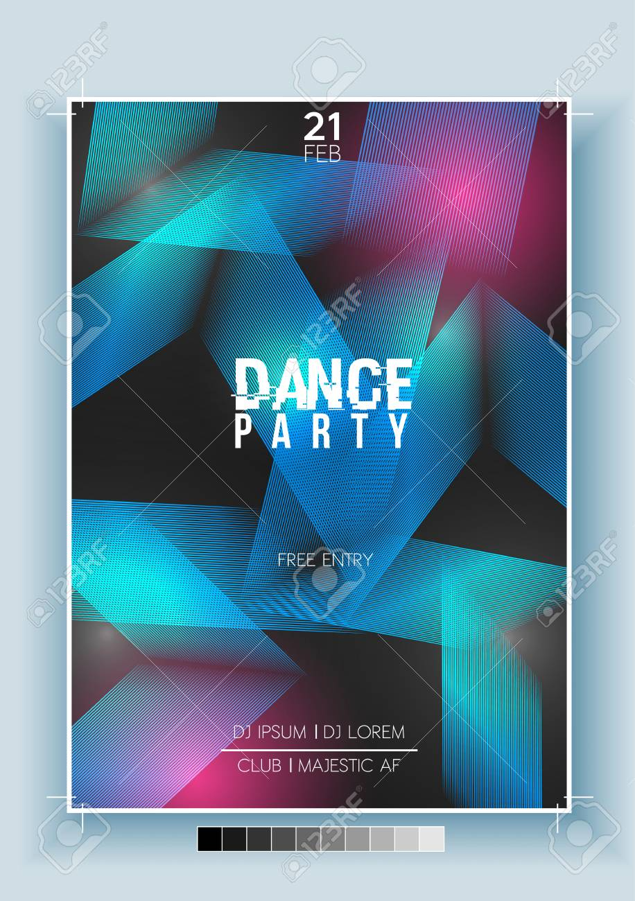 Abstract Dance Party Night Poster, Flyer Template - Vector Illustration - 92346733