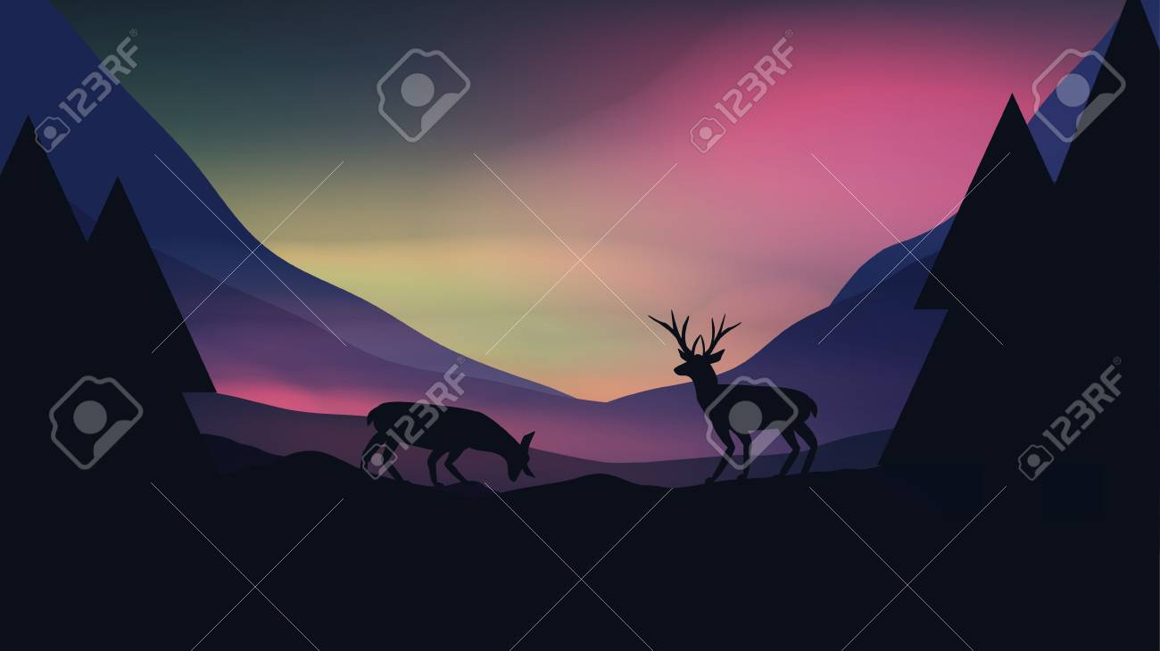 Sunset or Dawn Over Mountains with Stag on Hill Top Landscape - Vector Illustration - 92346738