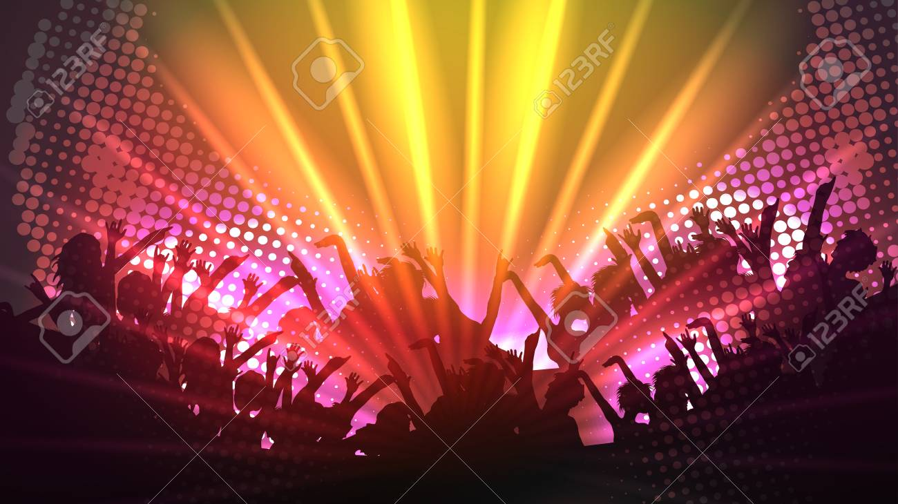 Party People Crowd, Festive Disco Event Background - Vector Illustration - 93819337