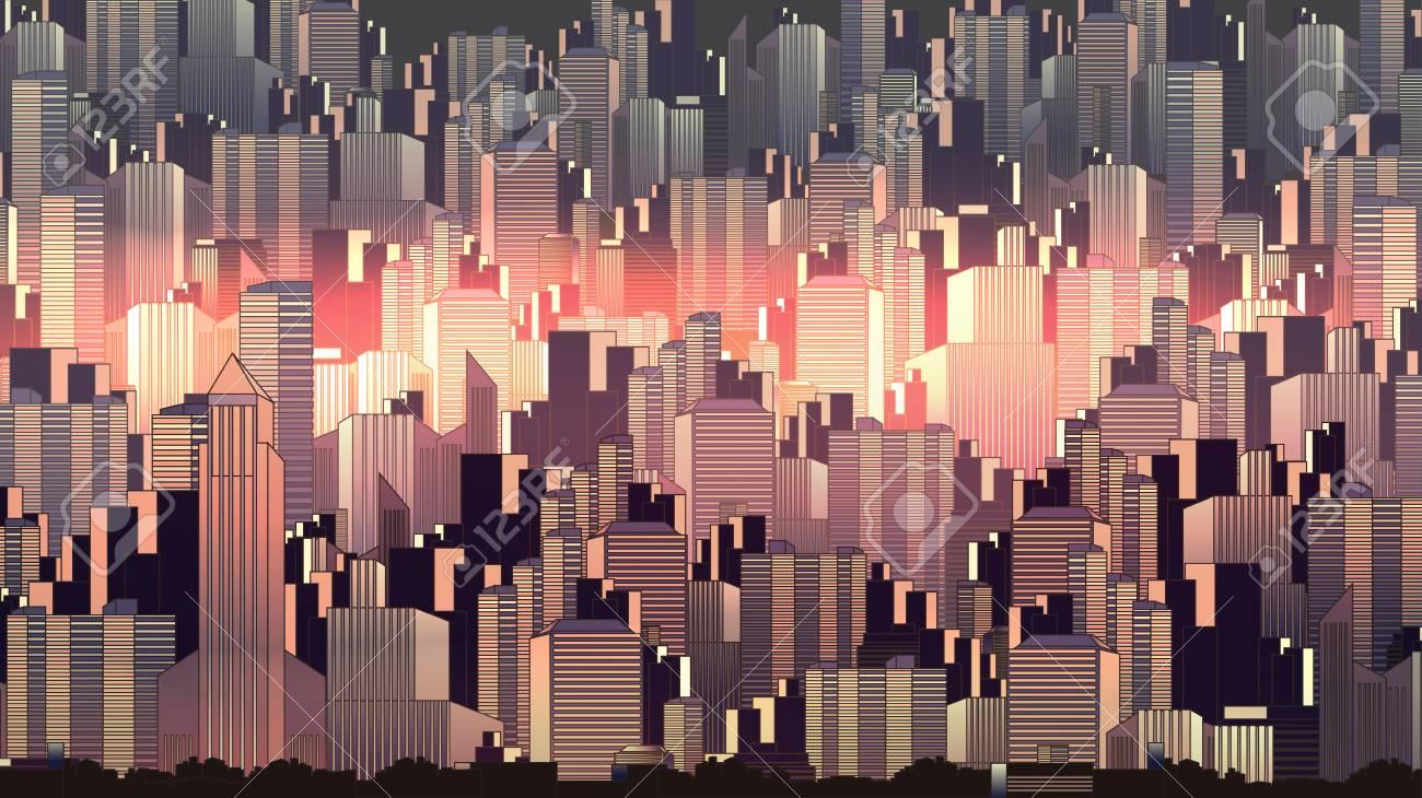 Urban City Nightscape - Vector Illustration - 93876710