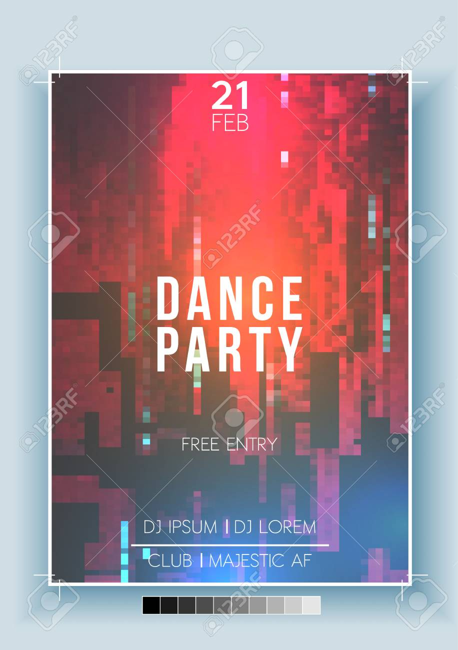 Abstract Fragmented Noisy Pixel Background Poster, Flyer Template - Vector Illustration - 94858475