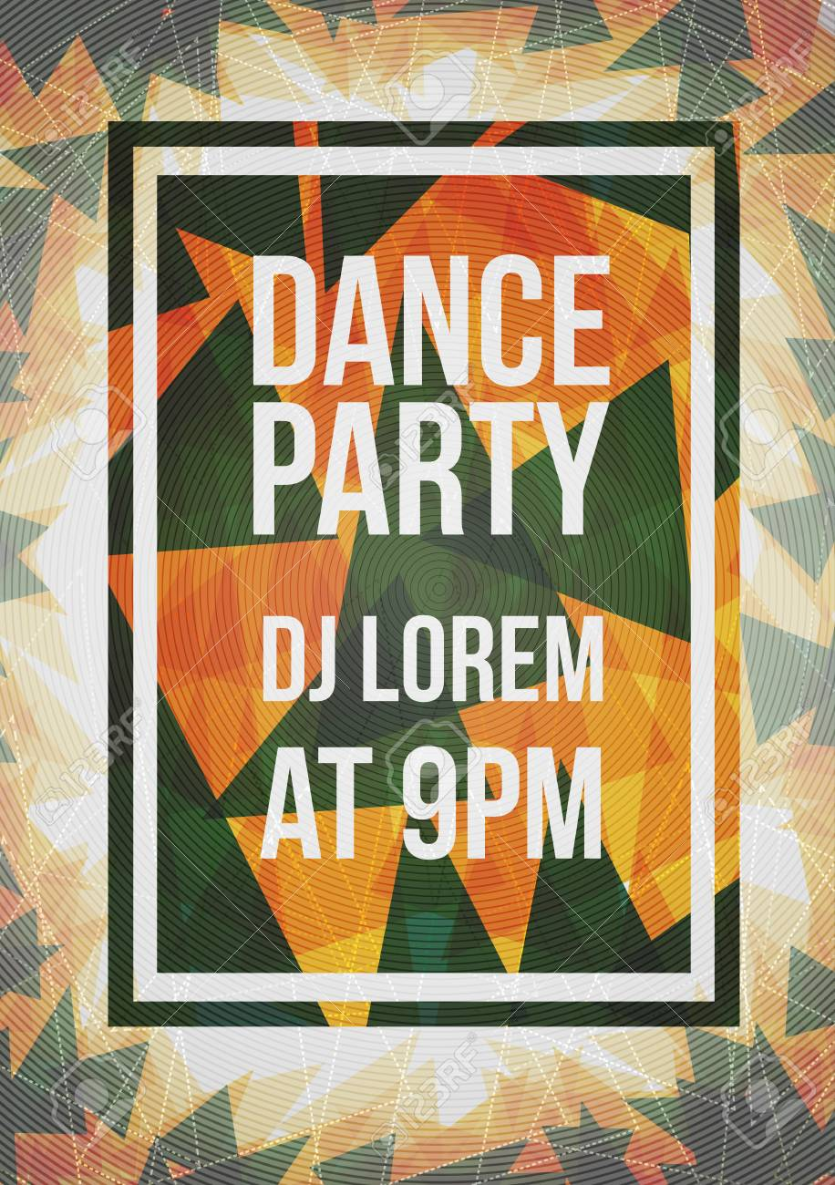 Abstract Party Poster with Triangle Background - Vector Illustration - 95741754