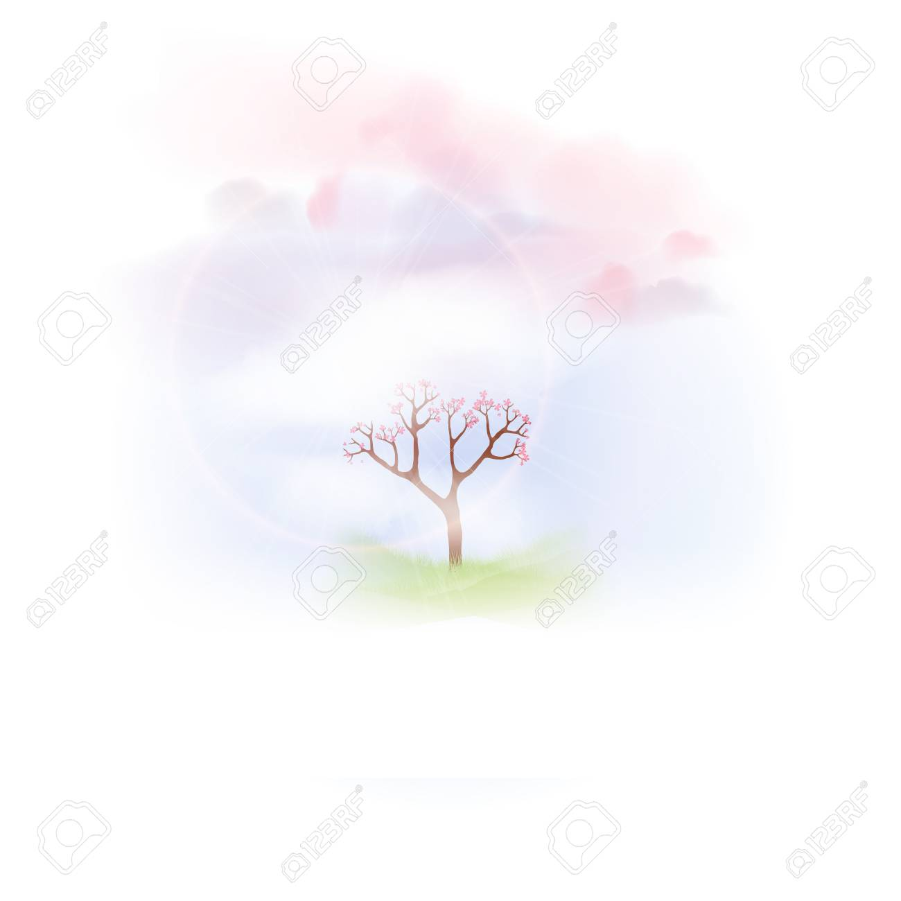 Spring with Lush Grass and Blooming Tree - Vector Illustration - 97525727