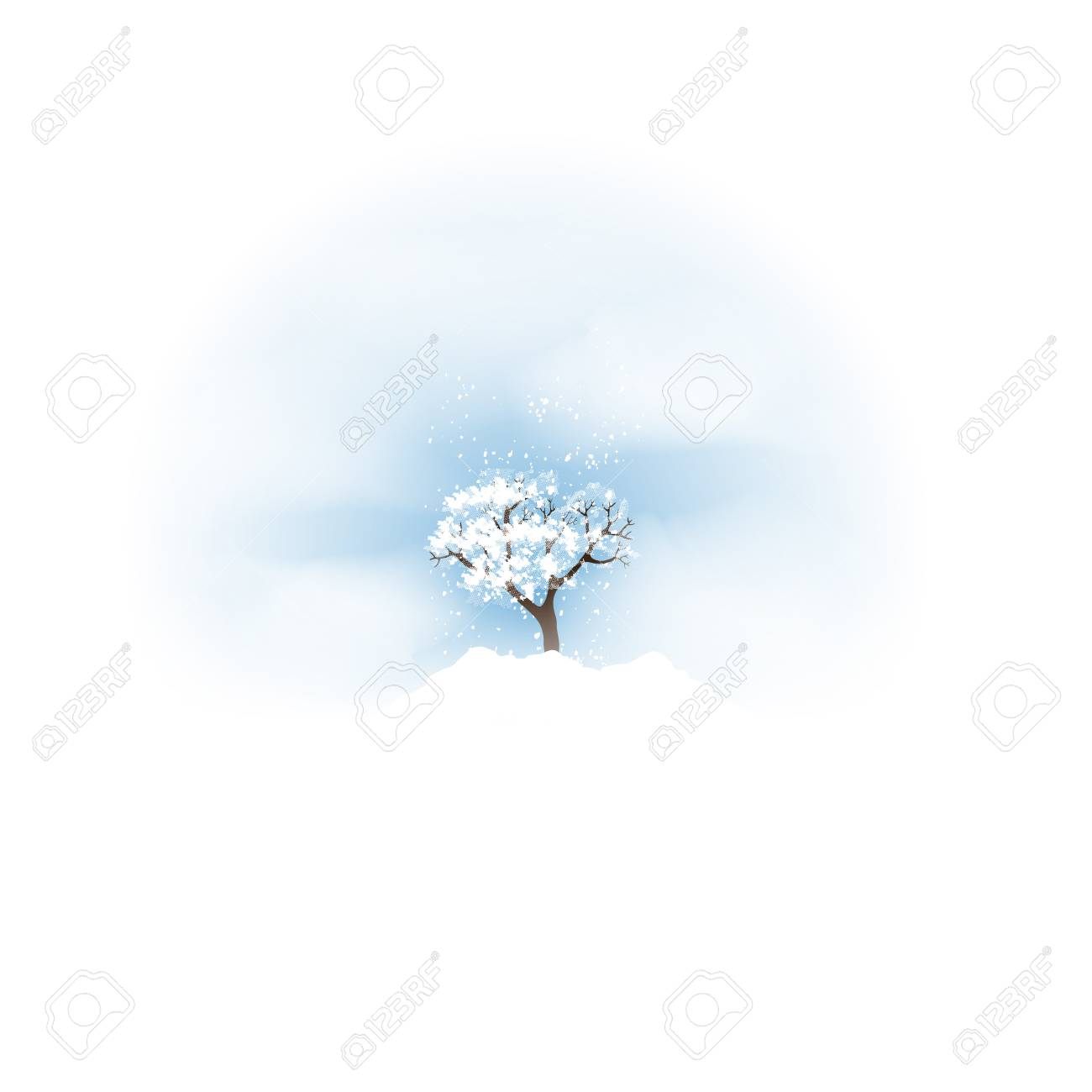Winter with Tree and Falling Snow - Vector Illustration - 97524151