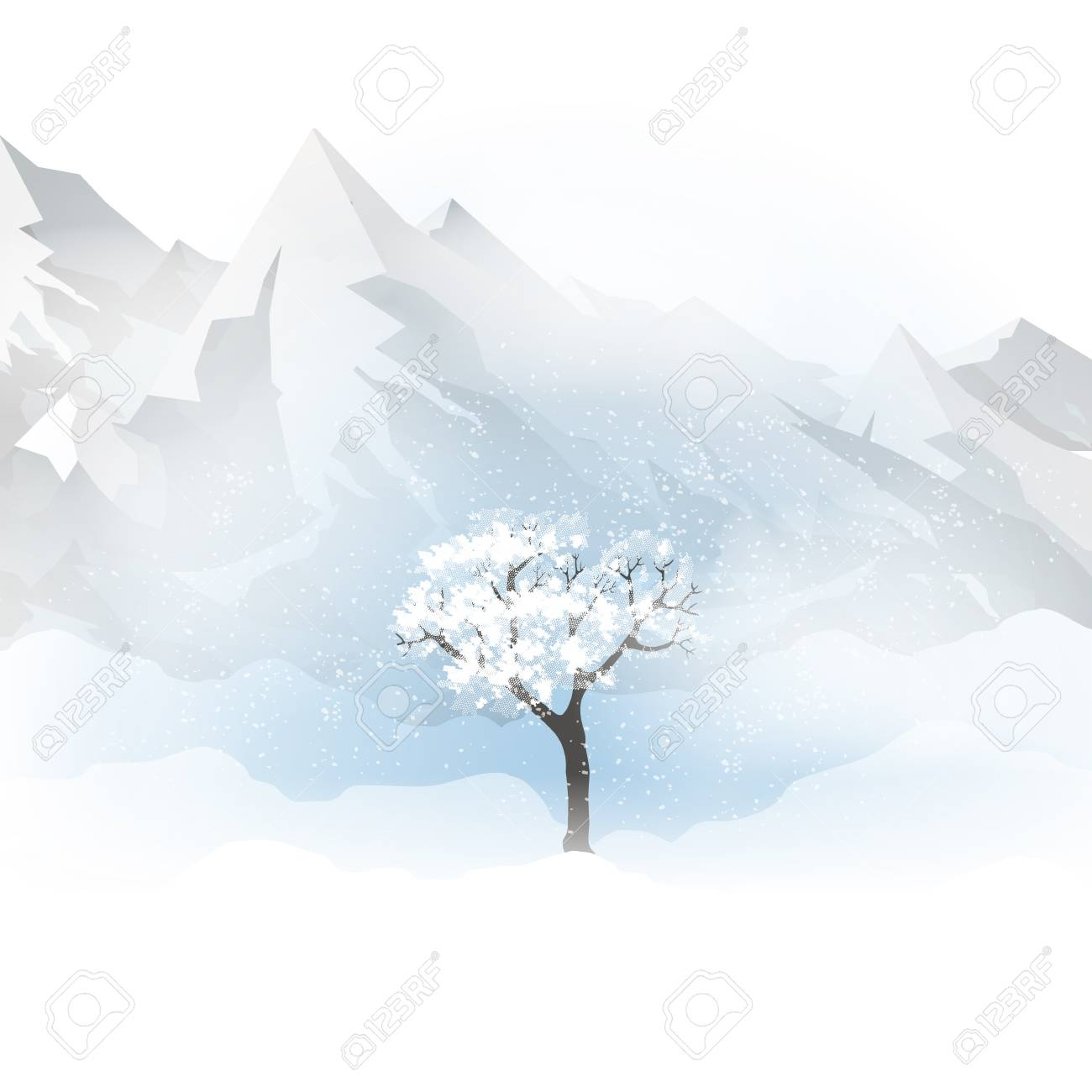 Winter with mountains, a tree and falling snow vector illustration. - 98084806