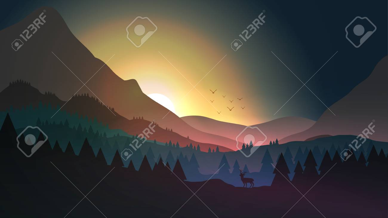 Sunset or Dawn Over Mountains with Stag on Hill Top Pine Forest Landscape - Vector Illustration - 98731106