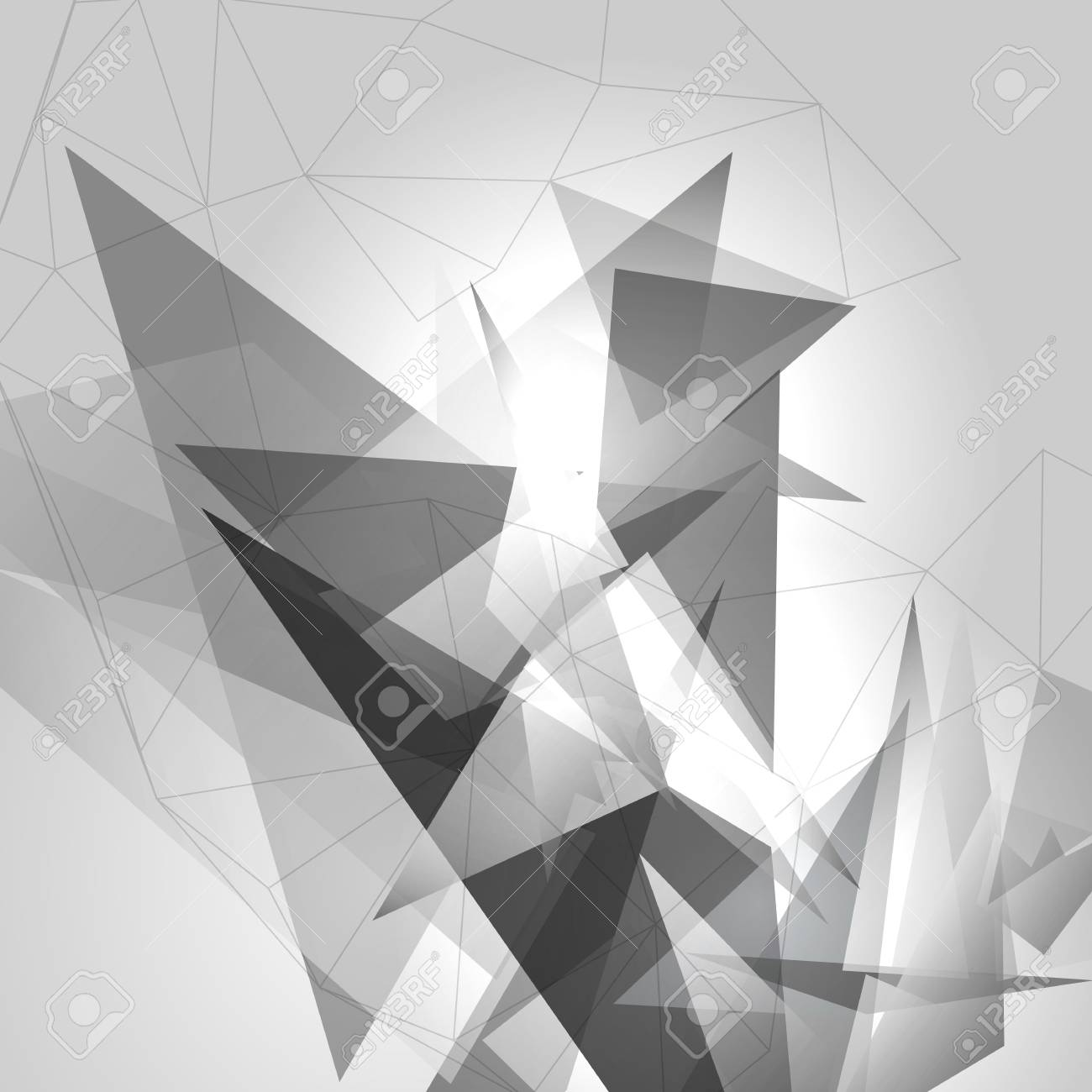 Black & White Background with Triangles - Vector Illustration - 99086920