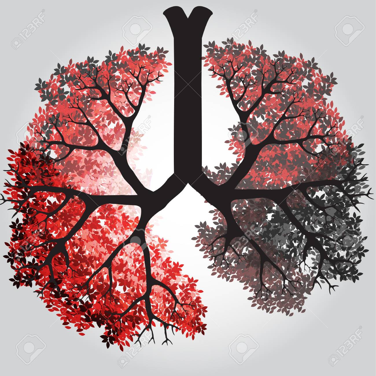 Tree Branches Like Lungs - Vector Illustration - 99670050