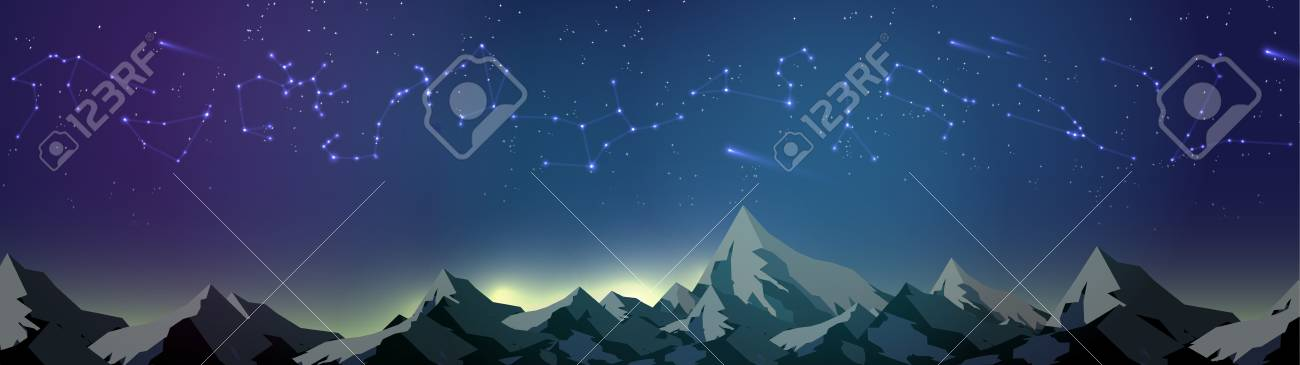 Star Constellations over Mountains on the Night Sky Panorama - Vector Illustration - 99670052