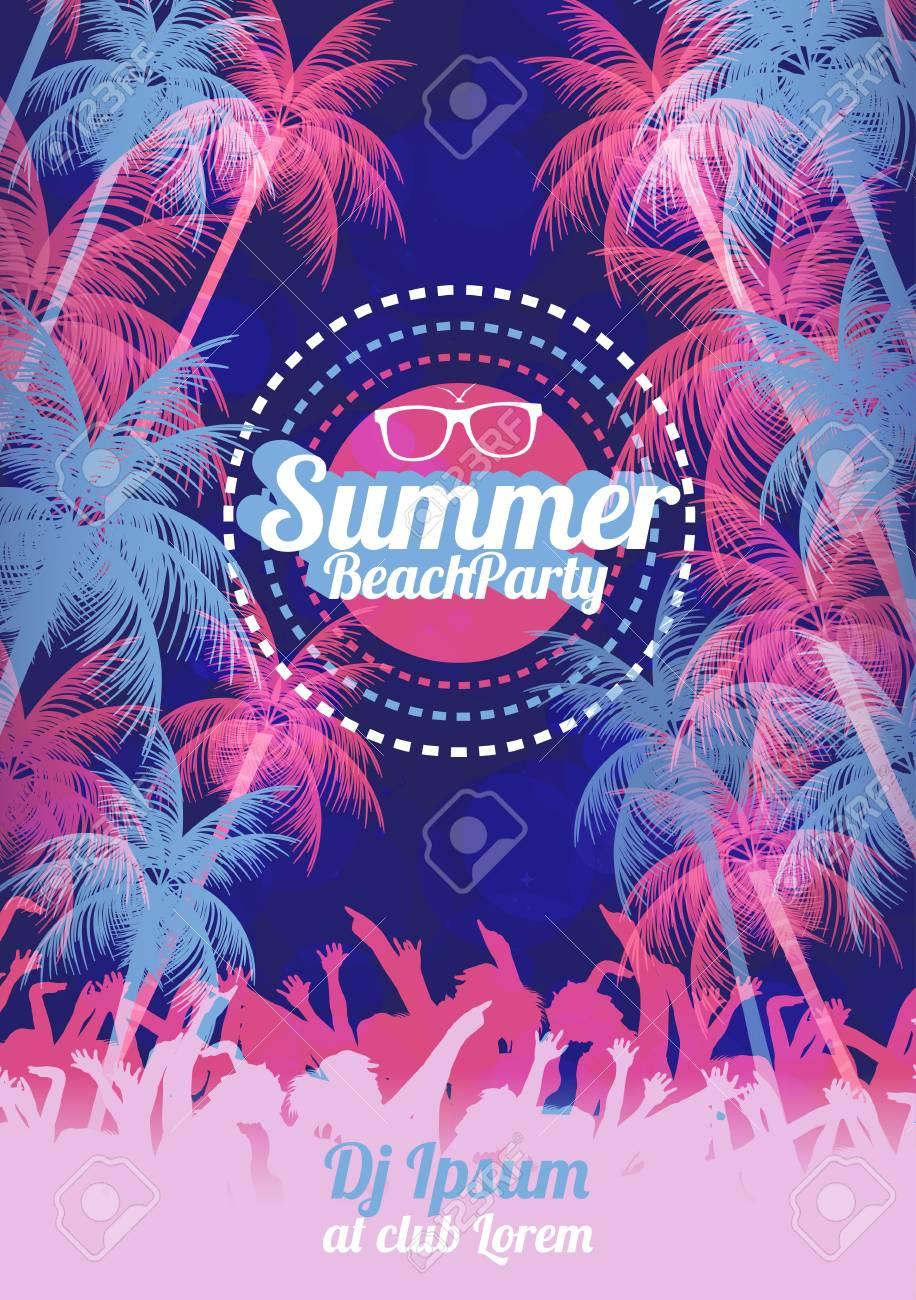 Retro Summer Beach Party Vector Flyer - Vector Illustration - 100423620