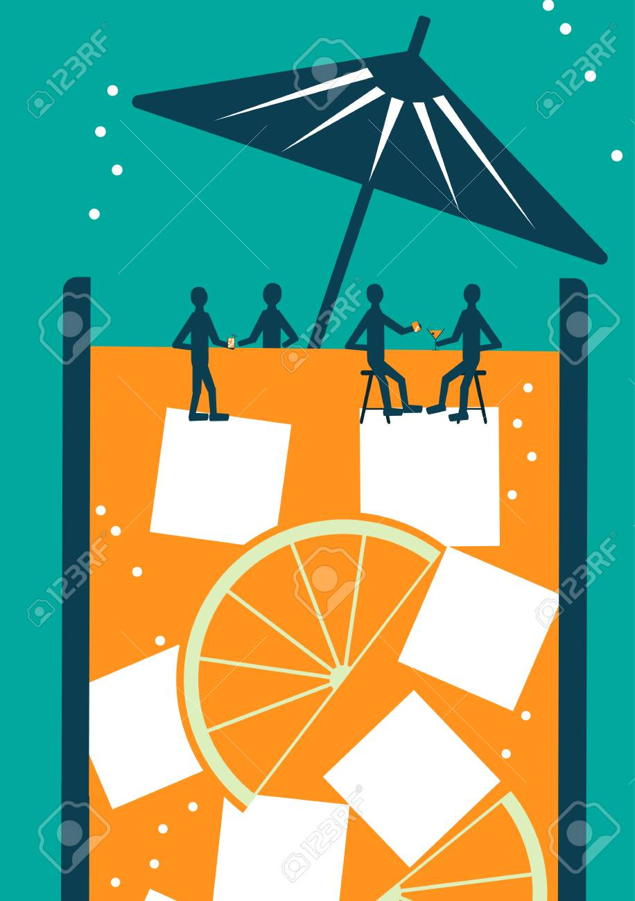 People Sitting in a Bar in a Cocktail - Vector Illustration - 100423607