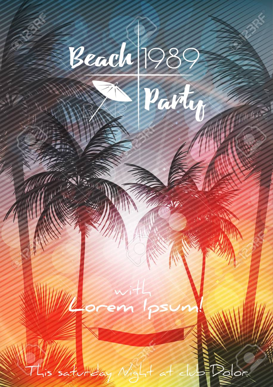 Summer Beach Party Flyer Design with Palmtrees - Vector Illustration - 100772334