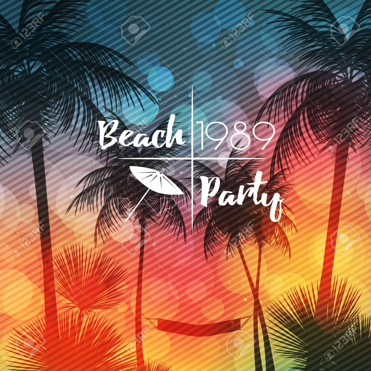 Summer Beach Party Flyer Design with Palmtrees - Vector Illustration - 100772166