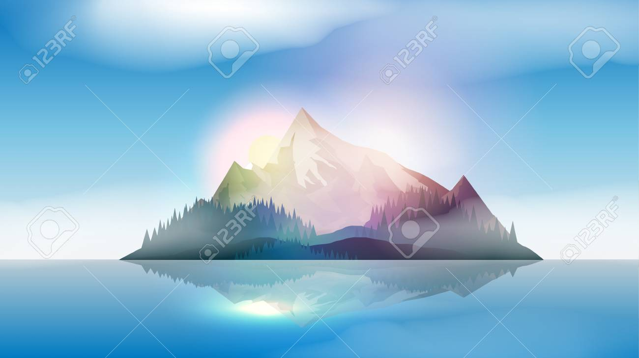 Mountains Island Landscape in the Sea - Vector Illustration - 104981047