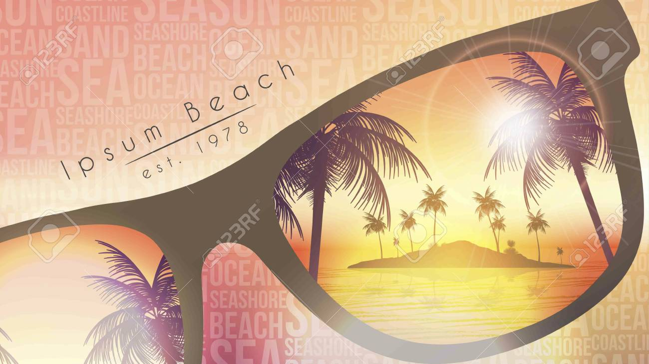 Summer Beach Party Flyer Design with Sunglasses on Blurred Background - Vector Illustration - 104981049