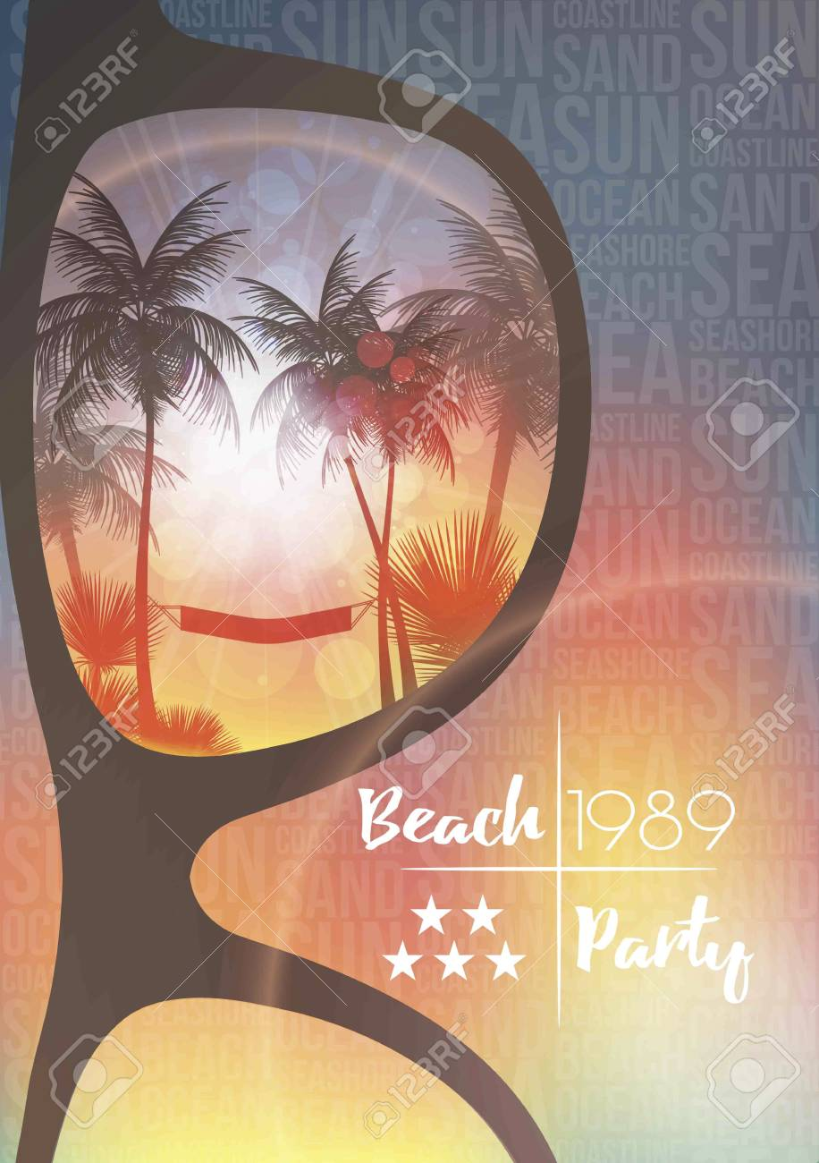 Summer Beach Party Flyer Design with Sunglasses on Blurred Background - Vector Illustration - 104981050