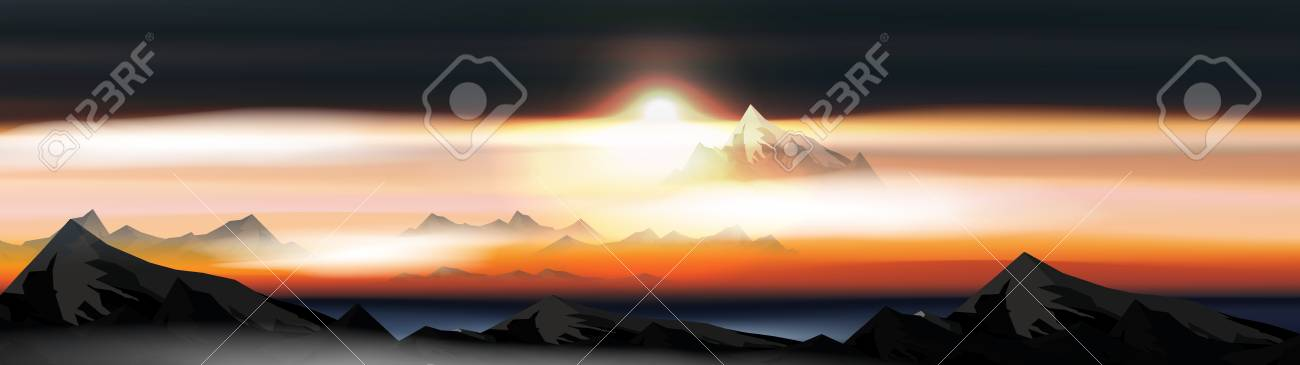 Mountains Over the Clouds Landscape at Sunset or Dawn Panorama - Vector Illustration - 105363102