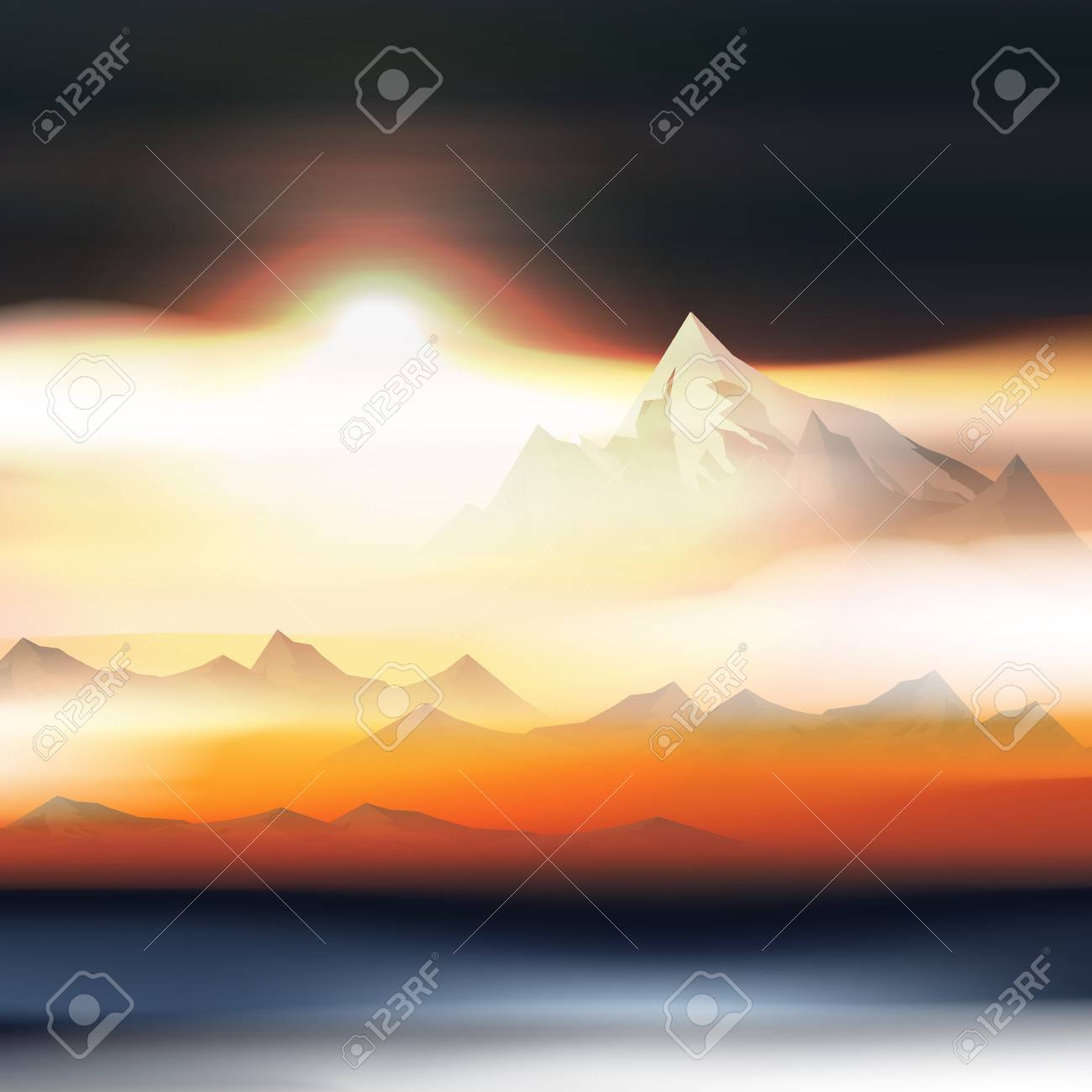 Mountains Over the Clouds Landscape at Sunset or Dawn - Vector Illustration - 105363107