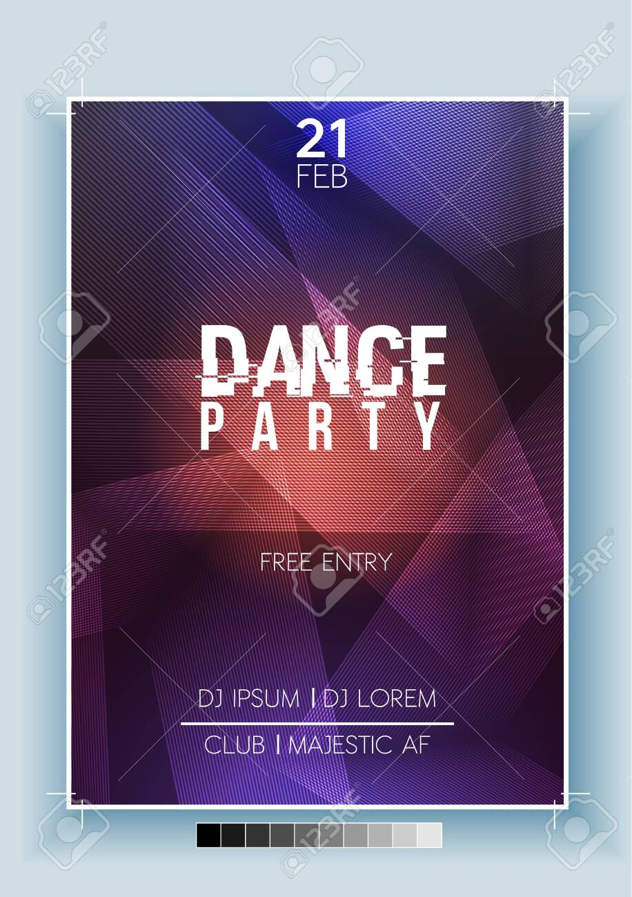 Abstract Dance Party Night Poster, Flyer Template - Vector Illustration - 134519769