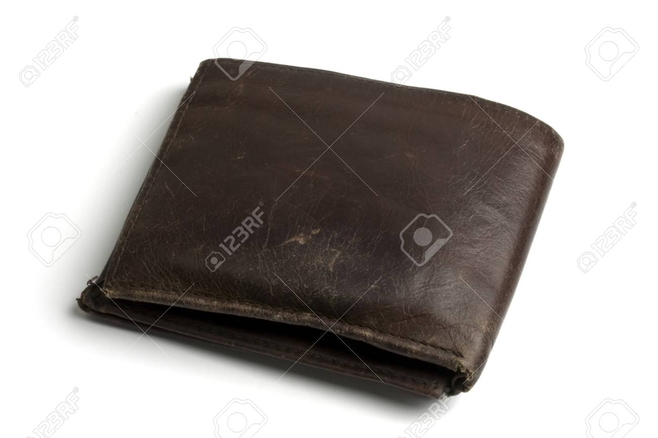 Old brown wallet isolated on white Stock Photo - 7100613