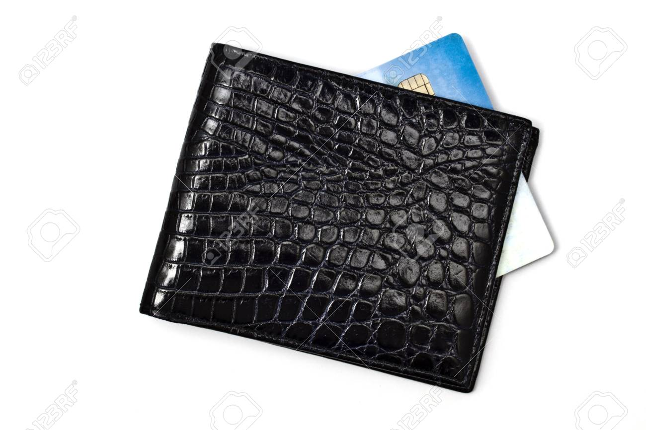Black wallet with Credit card isolated on white background Stock Photo - 8108416