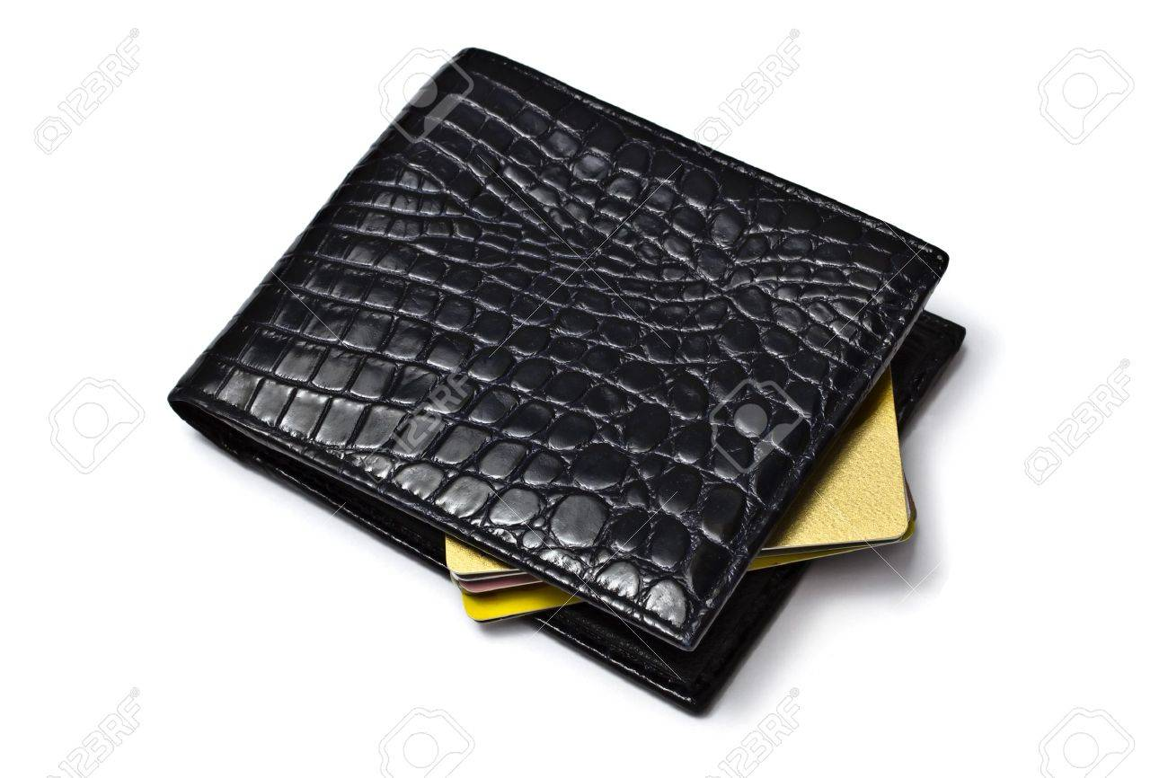 Black wallet with Credit cards isolated on white background Stock Photo - 8684074