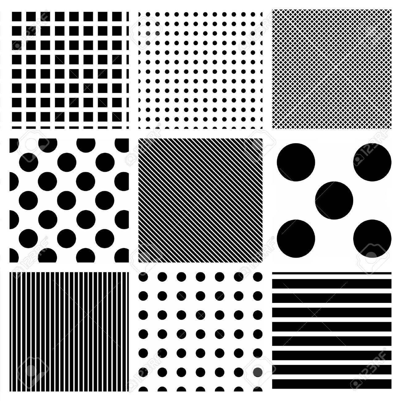 Vector seamless striped and polka dots patterns background Stock Photo - 9580741