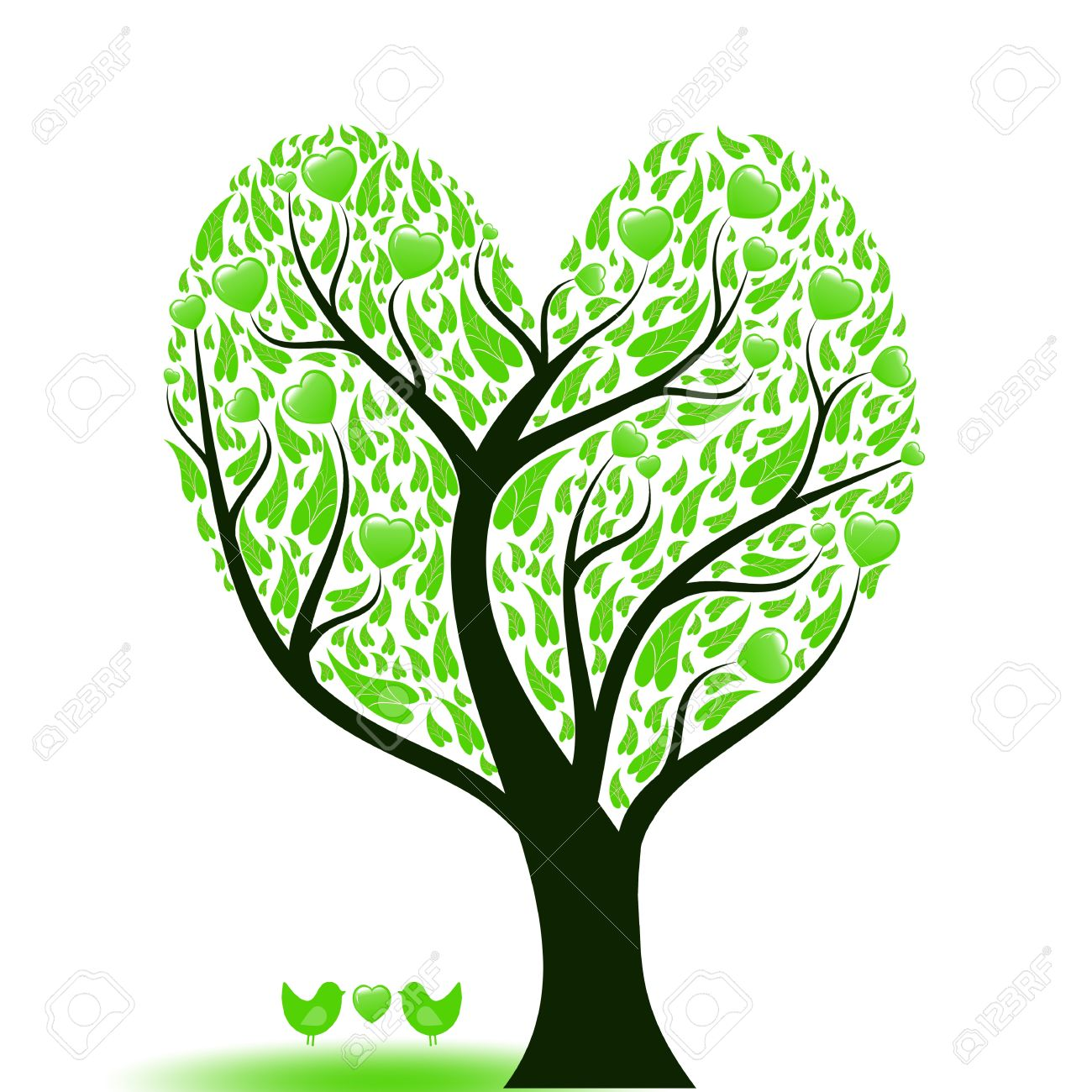 Beautiful abstract love tree with hearts and birds Stock Photo - 9813042