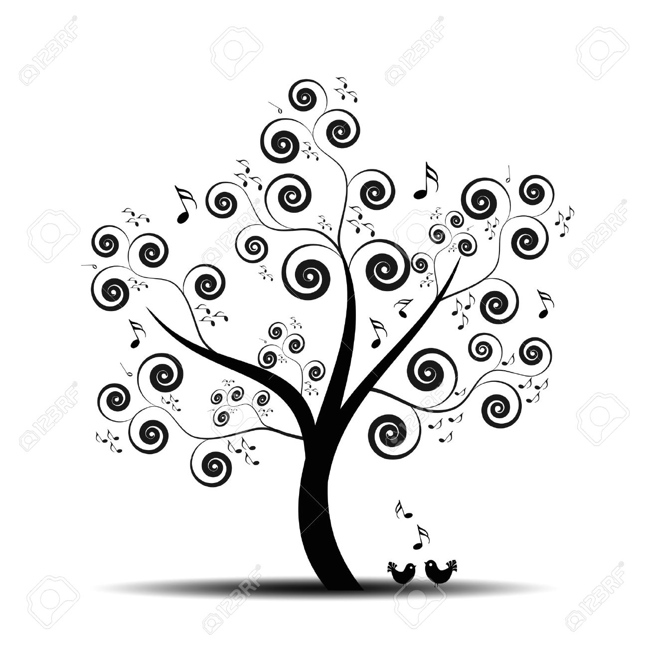 Abstract art tree with music notes and lovely birds Stock Vector - 9813318
