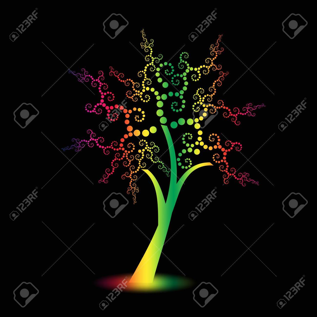 Colorful art trees with polka dots isolated on black background Stock Vector - 10025878