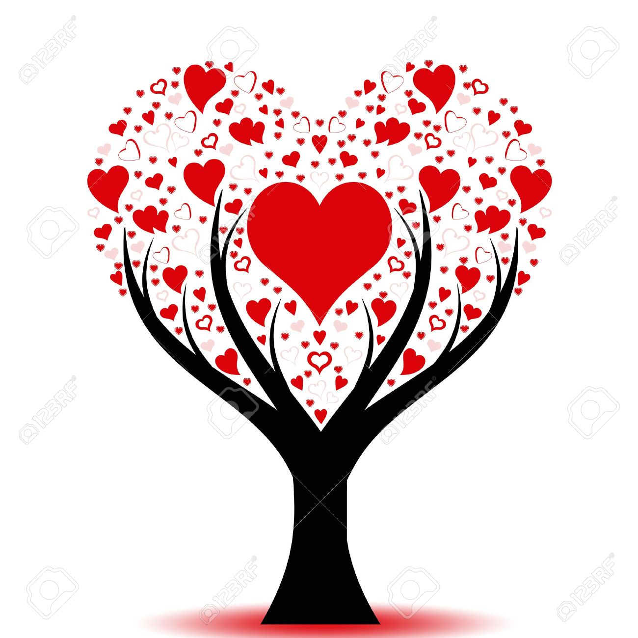 Beautiful love tree with hearts pattern Stock Vector - 10025852