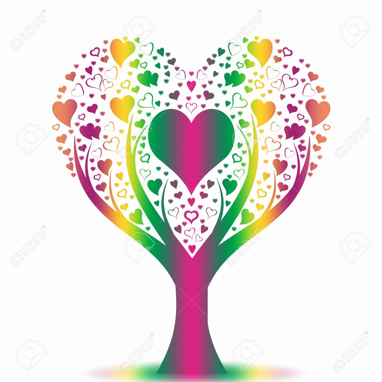 colorful art tree on white background stock vector 10025860 - Colorful Art