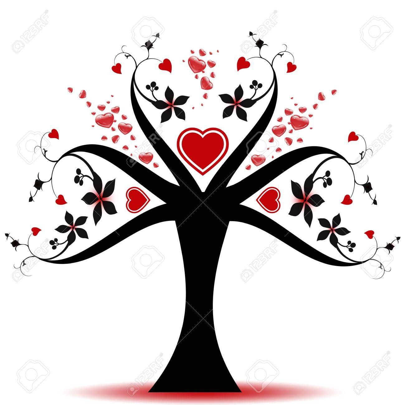 Schöne Valentin Baum Mit Herzen Muster Lizenzfrei Nutzbare ...