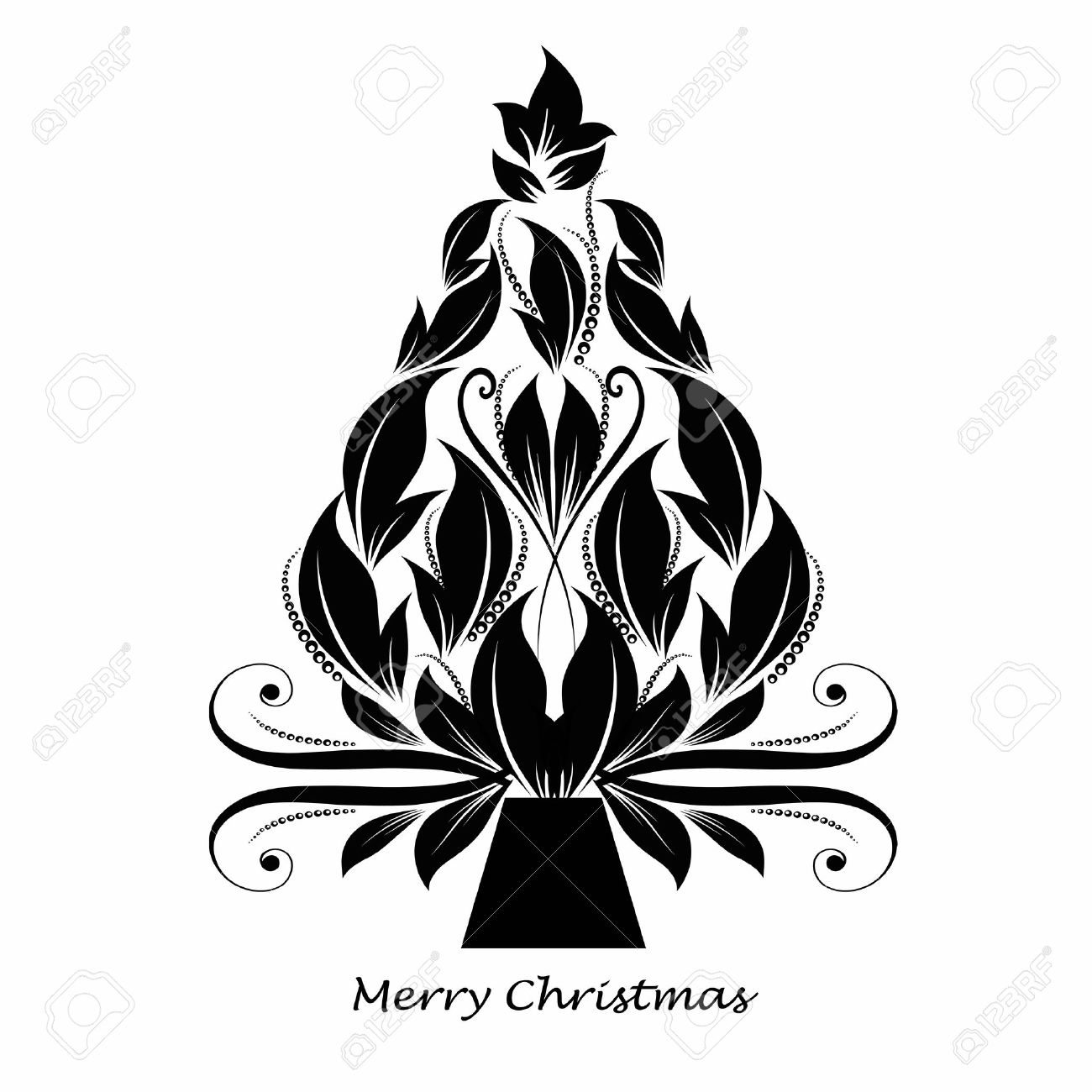 beautiful abstract christmas tree isolated on black background