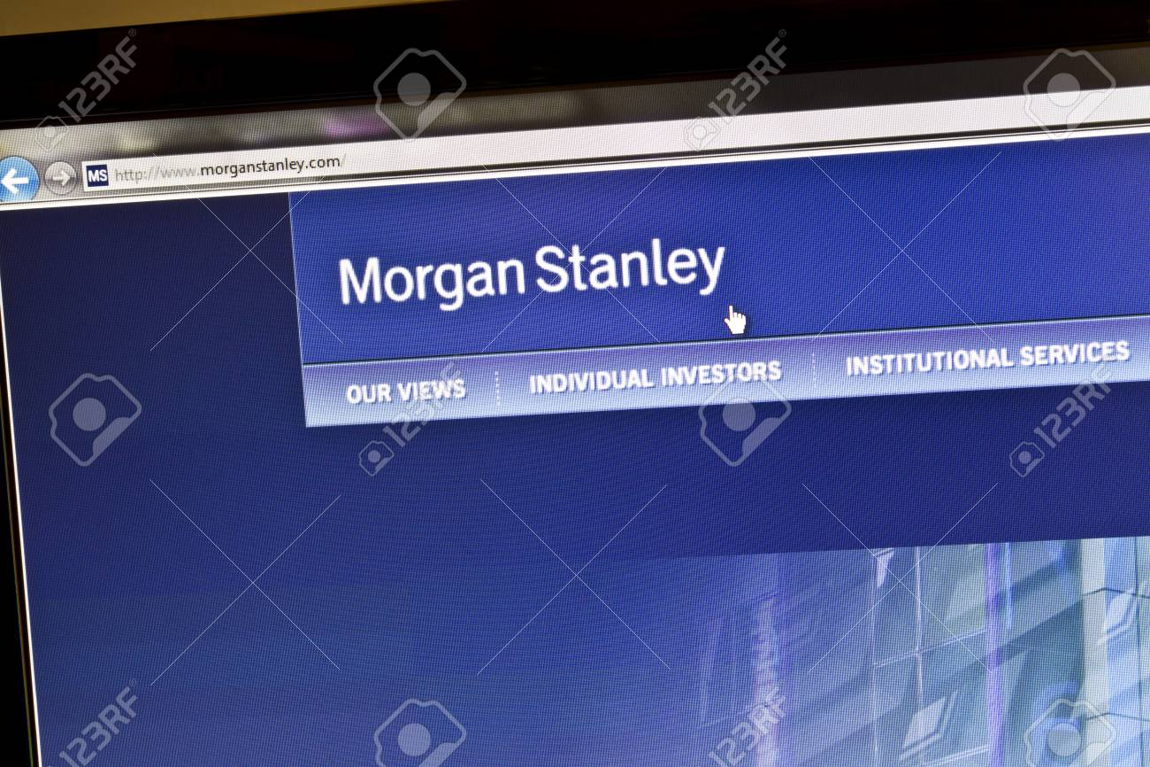 Morgan Stanley bank website on computere screen Stock Photo - 10466324