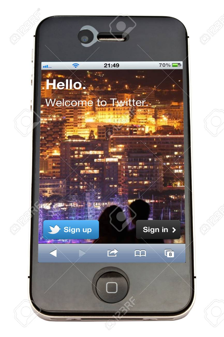 Twitter displayed on an iPhone 4s screen Stock Photo - 11719845