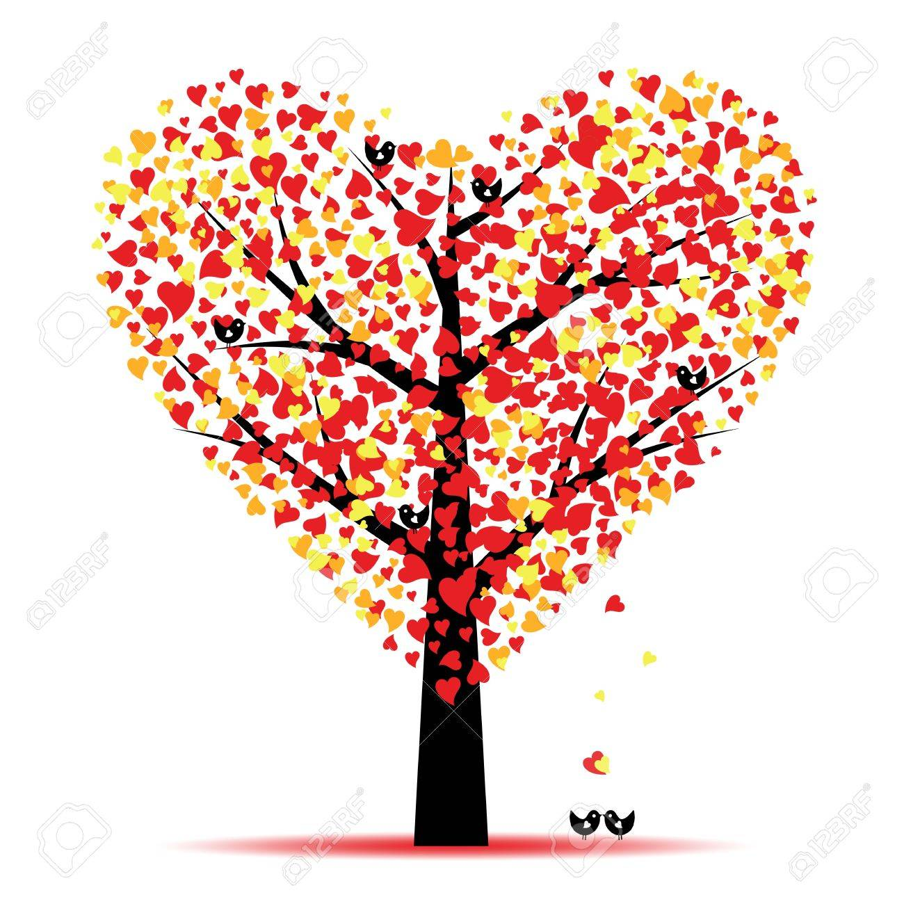 Valentine tree with hearts leaves and birds Stock Vector - 11863201