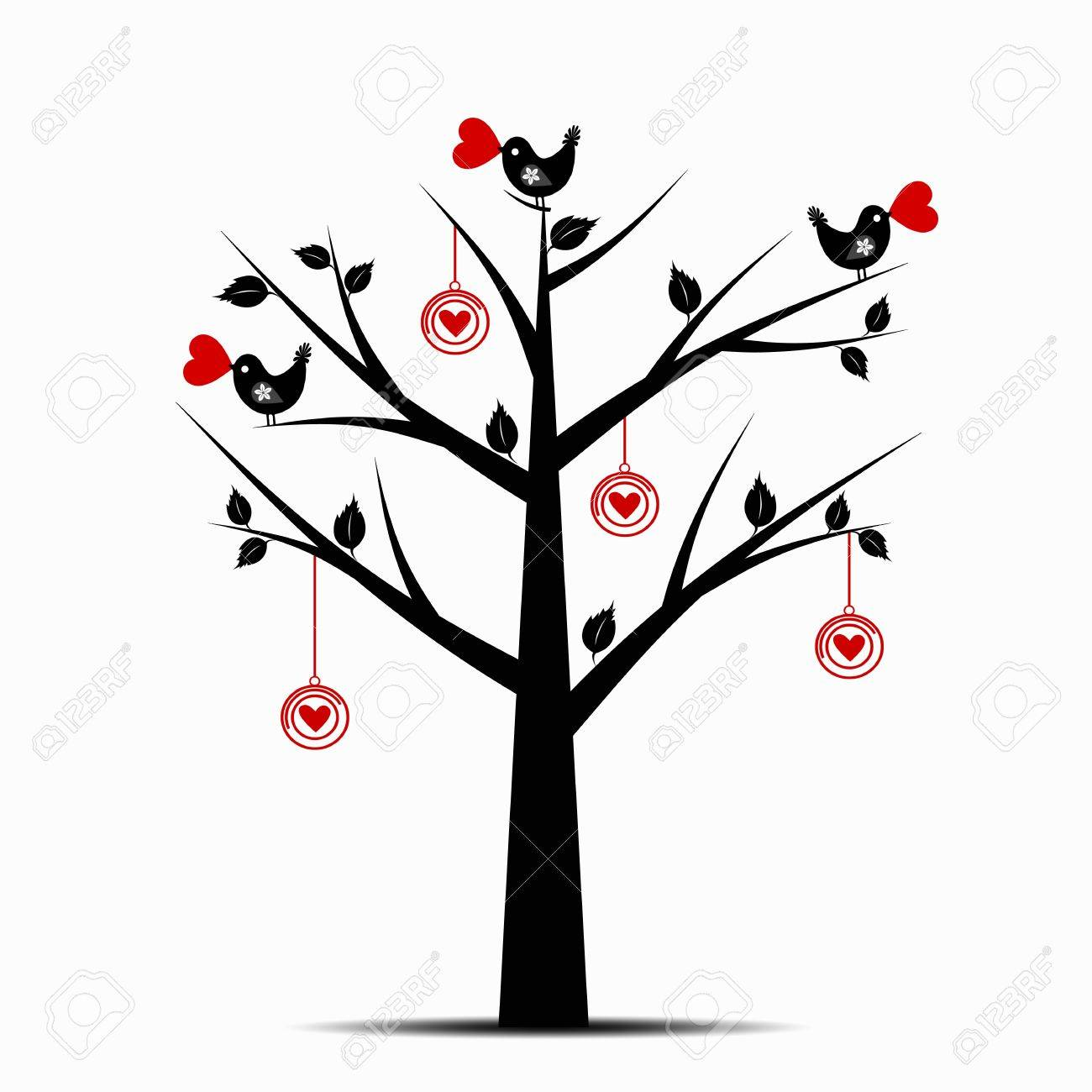 Beautiful Valentines Tree Isolated on White Background Stock Vector - 11960814