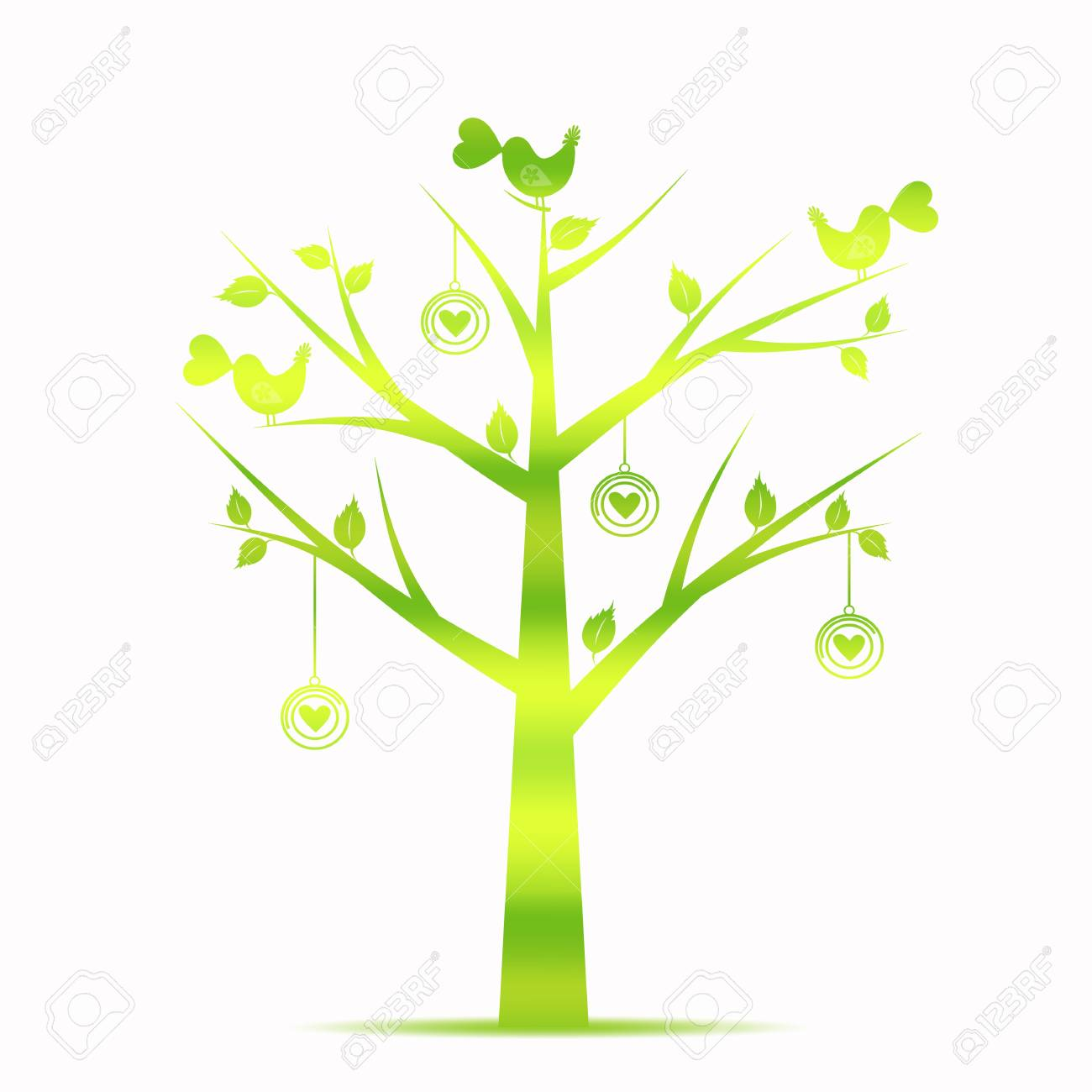 Beautiful Valentines Tree Isolated on White Background Stock Vector - 11960874
